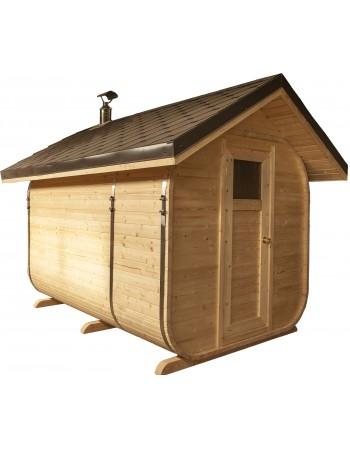 Sauna ar slīpo jumtu