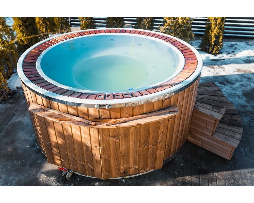 Stiklšķiedras 1,9 m karstā vanna ar pārplūdes sistēmu