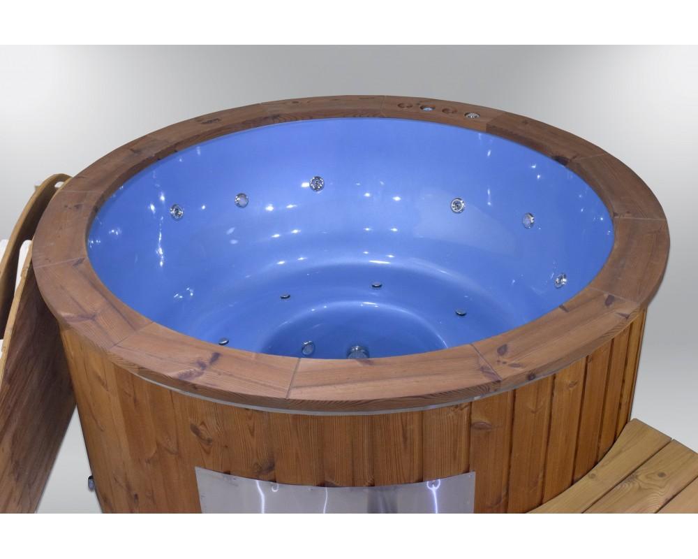 Ekskluzīva stikla šķīvja burbuļvanna zilā krāsā 182 cm
